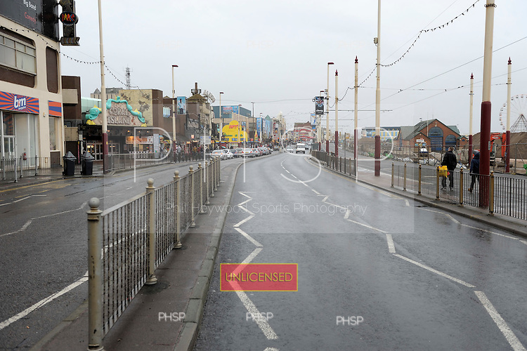 Blackpool Promenade prior to  work commencing on the tramway and road upgrades, adjacent to the Palatine buildings..© Phill Heywood.