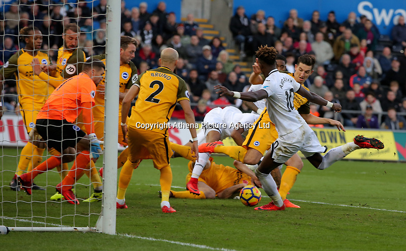 Tammy Abraham of Swansea City (R) fails to score from close range during the Premier League match between Swansea City a nd Brighton and Hove Albion at The Liberty Stadium on Nove21§mber 04, 2017 in Swansea, Wales. (Photo by Athena Pictures/Getty Images)