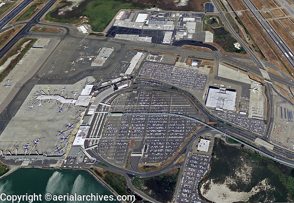 aerial photograph parking at the Oakland International Airport (OAK), Oakland, California