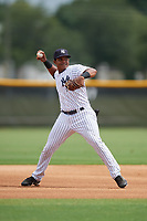 GCL Yankees West third baseman Jose Martinez (35) throws to first base during a game against the GCL Tigers West on August 10, 2018 at Yankee Complex in Tampa, Florida.  GCL Yankees West defeated GCL Tigers West 6-5.  (Mike Janes/Four Seam Images)