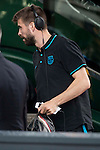 Gerard Pique arrives at the team hotel the day before UEFA Champions League match between Atletico de Madrid and FC Barcelona at Hotel Eurostars in Madrid. April 13, 2016. (ALTERPHOTOS/Borja B.Hojas)