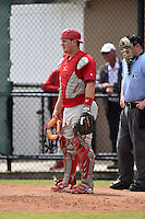 Philadelphia Phillies catcher Tommy Joseph during a minor league spring training intrasquad game on March 27, 2015 at the Carpenter Complex in Clearwater, Florida.  (Mike Janes/Four Seam Images)