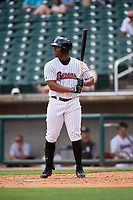 Birmingham Barons pinch hitter Keon Barnum (26) at bat during a game against the Pensacola Blue Wahoos on May 9, 2018 at Regions FIeld in Birmingham, Alabama.  Birmingham defeated Pensacola 16-3.  (Mike Janes/Four Seam Images)