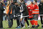 Real Sociedad's Capilla injured during La Liga match. March 1,2016. (ALTERPHOTOS/Acero)
