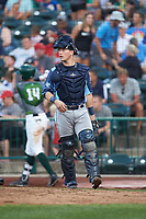 West Michigan Whitecaps catcher Cooper Johnson (37) on defense against the Fort Wayne TinCaps at Parkview Field on August 5, 2019 in Fort Wayne, Indiana. The TinCaps defeated the Whitecaps 9-3. (Brian Westerholt/Four Seam Images)