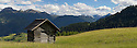 Hay barn in alpine meadow. Nordtirol, Austrian Alps, Austria, June.