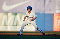 Dunedin Blue Jays shortstop Logan Warmoth (2) leads off second base during a game against the Fort Myers Miracle on April 17, 2018 at Dunedin Stadium in Dunedin, Florida.  Dunedin defeated Fort Myers 5-2.  (Mike Janes/Four Seam Images)
