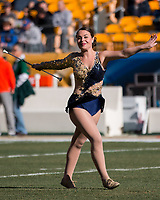 Pitt Golden Girl Majorette. The Pitt Panthers upset the undefeated Miami Hurricanes 24-14 on November 24, 2017 at Heinz Field, Pittsburgh, Pennsylvania.