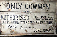 BNPS.co.uk (01202) 558833. <br /> Pic: Duke's/BNPS<br /> <br /> Pictured: A sign warning only 'cowmen and authorised persons' are permitted to enter this yard at Wormington Grange. <br /> <br /> The lavish contents of one of Britain's most beautiful stately homes are being auctioned off in a £1m everything must go sale.<br /> <br /> Wormington Grange has been owned since the 1970s by John Evetts, the grandson of Lord Ismay, Winston Churchill's chief military strategist during World War Two.<br /> <br /> Mr Evetts has sold the £15m neoclassical Cotswolds mansion as he is downsizing to a smaller property in the area.<br /> <br /> The sale, to be conducted by Duke's, of Dorchester, Dorset, features over 1,000 items ranging in value from £50 kitchen glasses to £100,000 works of art.