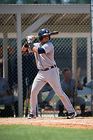 GCL Tigers West second baseman Ildemaro Escalona (3) at bat during a game against the GCL Tigers East on August 8, 2018 at Tigertown in Lakeland, Florida.  GCL Tigers East defeated GCL Tigers West 3-1.  (Mike Janes/Four Seam Images)