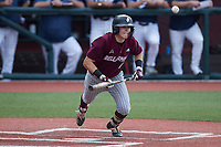 Clayton Mehlbauer (7) of the Bellarmine Knights starts down the first base line against the Liberty Flames at Liberty Baseball Stadium on March 9, 2021 in Lynchburg, VA. (Brian Westerholt/Four Seam Images)