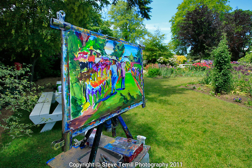 Painting in iris garden in Marion County, Oregon