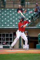 Rochester Red Wings Jake Cave (15) bats during an International League game against the Charlotte Knights on June 16, 2019 at Frontier Field in Rochester, New York.  Rochester defeated Charlotte 11-5 in the first game of a doubleheader that was a continuation of a game postponed the day prior due to inclement weather.  (Mike Janes/Four Seam Images)