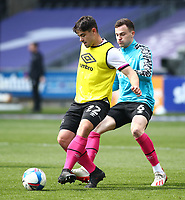 1st May 2021; Liberty Stadium, Swansea, Glamorgan, Wales; English Football League Championship Football, Swansea City versus Derby County; Eiran Cashin of Derby County passes during warm up