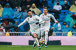 Isco Alarcon and Cristiano Ronaldo of Real Madrid run for the ball during the La Liga 2017-18 match between Real Madrid and Villarreal CF at Santiago Bernabeu Stadium on January 13 2018 in Madrid, Spain. Photo by Diego Gonzalez / Power Sport Images