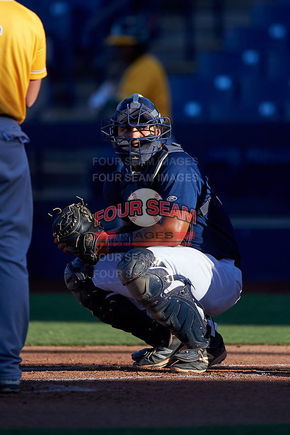 AZL Brewers Blue catcher Caleb Marquez (21) during an Arizona League game against the AZL Athletics Gold on July 2, 2019 at American Family Fields of Phoenix in Phoenix, Arizona. AZL Athletics Gold defeated the AZL Brewers Blue 11-8. (Zachary Lucy/Four Seam Images)