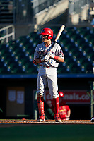 Clearwater Threshers Simon Muzziotti (12) bats during a Florida State League game against the Palm Beach Cardinals on August 10, 2019 at Roger Dean Chevrolet Stadium in Jupiter, Florida.  Clearwater defeated Palm Beach 11-4.  (Mike Janes/Four Seam Images)