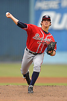 Rome Braves starting pitcher Lucas Sims #26 delivers a pitch during game against the Asheville Tourists  at McCormick Field on June 5, 2013 in Asheville, North Carolina. The Braves won the game 7-4. (Tony Farlow/Four Seam Images)