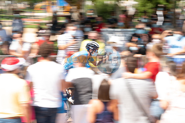 Alejandro Valverde (ESP) Movistar Team arrives at sign on before Stage 5 of La Vuelta d'Espana 2021, running 184.4km from Tarancón to Albacete, Spain. 18th August 2021.    <br /> Picture: Cxcling   Cyclefile<br /> <br /> All photos usage must carry mandatory copyright credit (© Cyclefile   Cxcling)