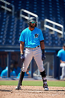 Miami Marlins Lorenzo Hampton Jr (38) at bat during an Instructional League game against the Washington Nationals on September 26, 2019 at FITTEAM Ballpark of The Palm Beaches in Palm Beach, Florida.  (Mike Janes/Four Seam Images)