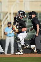 Kannapolis Intimidators catcher Evan Skoug (9) on defense against the Hickory Crawdads at Kannapolis Intimidators Stadium on May 6, 2019 in Kannapolis, North Carolina. The Crawdads defeated the Intimidators 2-1 in game one of a double-header. (Brian Westerholt/Four Seam Images)