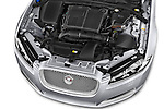 Car Stock 2015 Jaguar XF 2.2D 163 auto 4 Door Sedan 2WD Engine high angle detail view