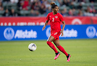 CARSON, CA - FEBRUARY 07: Kadeisha Buchanan #3 of Canada races with the ball during a game between Canada and Costa Rica at Dignity Health Sports Complex on February 07, 2020 in Carson, California.