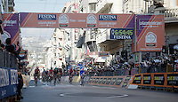 Arnaud Démare (FRA/FDJ) crosses the finish line first<br /> <br /> 107th Milano-Sanremo 2016