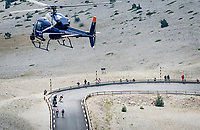 Tadej Pogacar (SVN/UAE-Emirates) coming down the Mont Ventoux on the last descent and who is about to get caught by GC rivals Richard Carapaz (COL/Ineos Grenadiers) & Rigoberto Urán (COL/EF Education - Nippo)<br /> <br /> Stage 11 from Sorgues to Malaucène (199km) running twice over the infamous Mont Ventoux<br /> 108th Tour de France 2021 (2.UWT)<br /> <br /> ©kramon