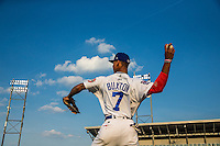 Byron Buxton (7) of the Chattanooga Lookouts throws before a game between the Jackson Generals and Chattanooga Lookouts at AT&T Field on May 8, 2015 in Chattanooga, Tennessee. (Brace Hemmelgarn/Four Seam Images)