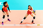 Opposite spiker Xiangyu Gong of China (R) pass during the FIVB Volleyball World Grand Prix match between China vs Japan on July 21, 2017 in Hong Kong, China. Photo by Marcio Rodrigo Machado / Power Sport Images