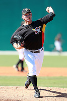 Pittsburgh Pirates minor league pitcher Zach Fuesser (41) vs. the Philadelphia Phillies in an Instructional League game at Pirate City in Bradenton, Florida;  October 5, 2010.  Photo By Mike Janes/Four Seam Images