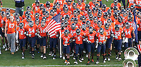 Nov 13, 2010; Charlottesville, VA, USA; The Virginia Cavaliers take the field during the game against the Maryland Terrapins at Scott Stadium. Maryland won 42-23.  Mandatory Credit: Andrew Shurtleff
