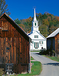 Orange County, VT<br /> Two weathered buildings bracket the New Hope United Methodist Church (1857) in Waits River