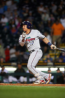 Fort Myers Miracle designated hitter Alex Real (17) at bat during a game against the Bradenton Marauders on April 9, 2016 at McKechnie Field in Bradenton, Florida.  Fort Myers defeated Bradenton 5-1.  (Mike Janes/Four Seam Images)