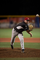 Salem-Keizer Volcanoes relief pitcher Matt Frisbee (45) follows through on his delivery during a Northwest League game against the Hillsboro Hops at Ron Tonkin Field on September 1, 2018 in Hillsboro, Oregon. The Salem-Keizer Volcanoes defeated the Hillsboro Hops by a score of 3-1. (Zachary Lucy/Four Seam Images)