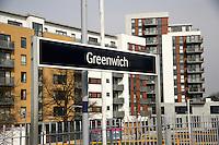 New housing in Greenwich seen from the train platform, Greenwich, London, UK