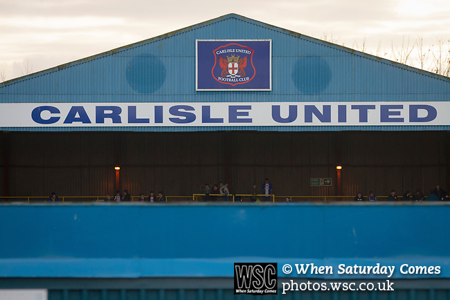 Carlisle United 1 Accrington Stanley 0, 15/11/2014. Brunton Park, League Two. Home fans gathering in the Warwick Road stand prior to the English League Two match between Carlisle United and visitors Accrington Stanley at Brunton Park. The match was won by the home team by one goal to nil, the winner scored by Derek Asamoah in the 21st minute. The match was watched by 4,069 spectators. Photo by Colin McPherson.