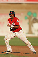 September 7 2009:  Juan Fuentes of the High Desert Mavericks during game against the Modesto Nuts at Maverick Stadium in Adelanto,CA.  Photo by Larry Goren/Four Seam Images
