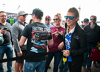 Feb 23, 2020; Chandler, Arizona, USA; NHRA top fuel driver Leah Pruett during the Arizona Nationals at Wild Horse Pass Motorsports Park. Mandatory Credit: Mark J. Rebilas-USA TODAY Sports
