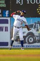 Adam Brett Walker II (8) of the Chattanooga Lookouts throws during a game between the Jackson Generals and Chattanooga Lookouts at AT&T Field on May 8, 2015 in Chattanooga, Tennessee. (Brace Hemmelgarn/Four Seam Images)