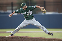 Michigan State Spartans pitcher Jake Lowery (12) delivers a pitch to the plateagainst the Michigan Wolverines during the NCAA baseball game on April 18, 2017 at Ray Fisher Stadium in Ann Arbor, Michigan. Michigan defeated Michigan State 12-4. (Andrew Woolley/Four Seam Images)