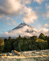 Sunset over Taranaki, Mt. Egmont,  Egmont National Park, North Island, New Zealand, NZ