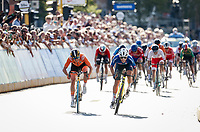 Elisa Balsamo (ITA/Valcar) wins the rainbow sprint against Marianne Vos (NED/Jumbo-Visma)<br /> <br /> <br /> Women Elite - Road Race (WC)<br /> from Antwerp to Leuven (158km)<br /> <br /> UCI Road World Championships - Flanders Belgium 2021<br /> <br /> ©kramon (pool pic)