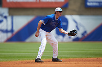 Duke Blue Devils shortstop Zack Kone (2) on defense against the Florida State Seminoles in the first semifinal of the 2017 ACC Baseball Championship at Louisville Slugger Field on May 27, 2017 in Louisville, Kentucky. The Seminoles defeated the Blue Devils 5-1. (Brian Westerholt/Four Seam Images)