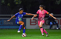 Jolet Lommen (9 Gent) pictured in a fight for the ball with Noemie Fourdin (11 Charleroi) during a female soccer game between  AA Gent Ladies and Sporting Charleroi Feminin on the fifth matchday of the 2020 - 2021 season of Belgian Scooore Womens Super League , friday 16 th of October 2020  in Oostakker , Belgium . PHOTO SPORTPIX.BE | SPP | DAVID CATRY