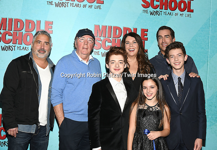 """Steve Carr, James Patterson, actor Thomas Barbusca,  Alexa Nisenson and Griffin Gluck, Lauren Graham and Rob Riggle  attend the """"Middle School: The Worst Years of My Life"""" New York Screening on October 1, 2016 at the Regal E-Walk in New York, New York, USA.<br /> <br /> photo by Robin Platzer/Twin Images<br />  <br /> phone number 212-935-0770"""