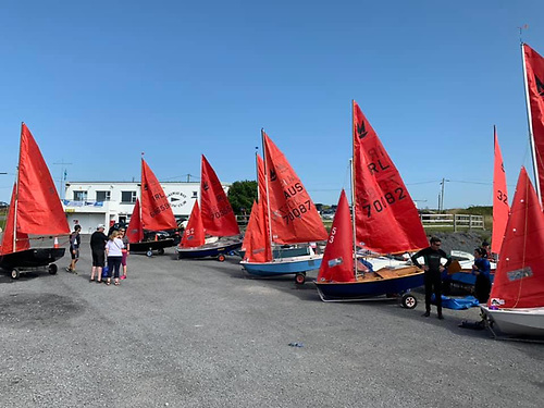 The Mirror dinghy fleet prepare to go afloat at Galway Bay Sailing Club
