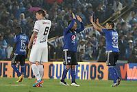 BOGOTA - COLOMBIA -07 -02-2015: Jonathan Agudelo (Der.) jugador de Millonarios celebra un gol anotado a Patriotas FC, durante partido entre Millonarios y Patriotas FC por la fecha 2 de la Liga Aguila I-2015, jugado en el estadio Nemesio Camacho El Campin de la ciudad de Bogota. / Jonathan Agudelo (R) player of Millonarios celebrates a goal scored to Patriotas FC, during a match between Millonarios and Patriotas FC for the  date 1 of the Liga Aguila I-2015 at the Nemesio Camacho El Campin Stadium in Bogota city, Photo: VizzorImage / Luis Ramírez / Staff.