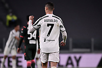 Cristiano Ronaldo celebrates after scoring the goal of 1-0 during the Serie A football match between Juventus FC and FC Crotone at Allianz stadium in Torino (Italy), February 22th, 2021. Photo Federico Tardito / Insidefoto